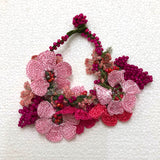 Hot Pink Bouquet Bracelet with Hot Pink Pink Grapes - Crochet OYA Lace Bracelet