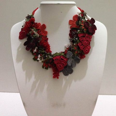 Red and Grey Bouquet Necklace - Crochet OYA Lace Necklace