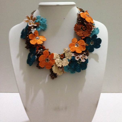 Orange and Blue Bouquet Necklace - Crochet OYA Lace Necklace