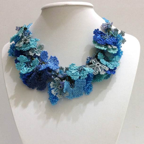 BLUE and Turquoise Bouquet Necklace - Crochet OYA Lace Necklace