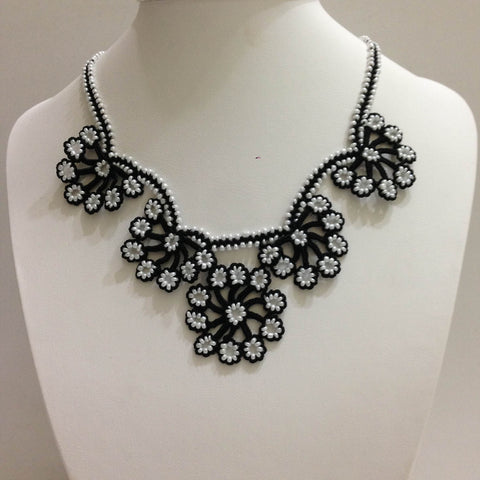 Black with White Beads - Choker Necklace with Crocheted Bead Flower Oya