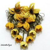 YELLOW Hand Crochet Brooch - Flower Pin- Gift for Mom - Gift for Mother - Gift for Her - Unique Lace Brooches Jewelry - Fabric Flower Brooch