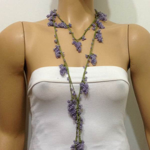 Lavender Crochet grapes bead oya - Berry Necklace - Beaded Lariat -  Necklace Lariat Necklace