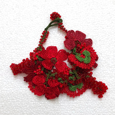 Red and Green Christmas Bouquet Bracelet with Red Grapes - Crochet OYA Lace Bracelet