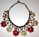 Burgundy and Beige Choker Necklace with Crocheted Flower and semi precious Agate Stones