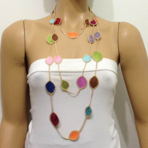 180001 Multi-color Rainbow Leaf Necklace - Oya Drop Necklaces