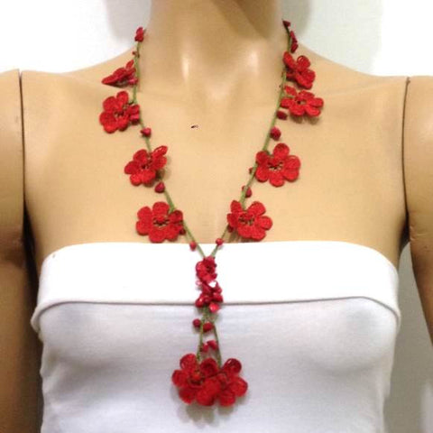 Red Tied Necklace with Coral Stones