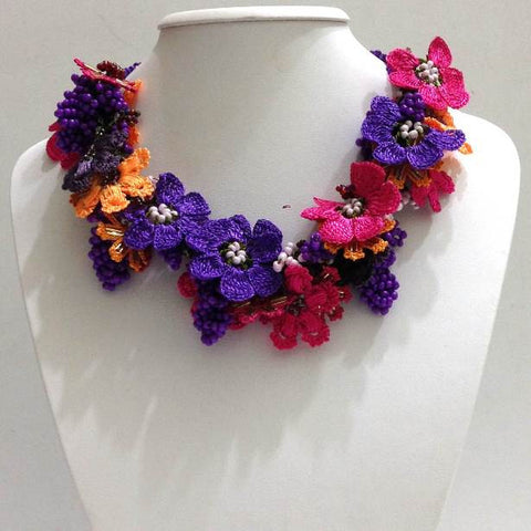 Orange, Hot Pink and Purple - Crochet OYA Lace Necklace