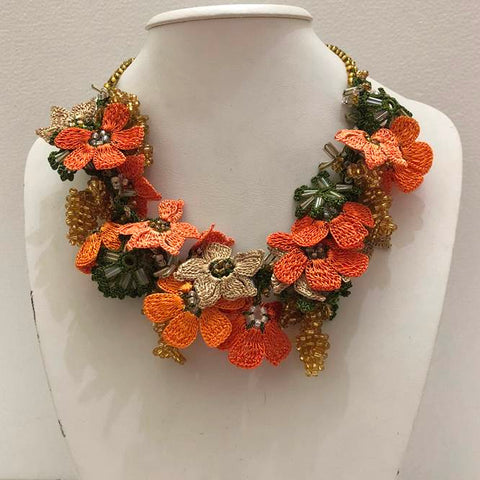 Orange and Beige with Golden Grapes - Crochet OYA Lace Necklace