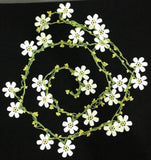NEW SPRING WHITE Crochet beaded flower lariat necklace with Yellow beads