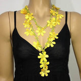 NEW SPRING YELLOW Crochet beaded flower lariat necklace with Yellow beads