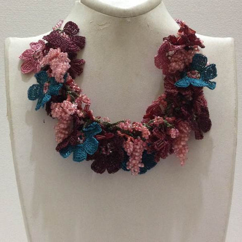 Pink,Brown and Blue Bouquet Necklace with Pink Grapes - Crochet OYA Lace Necklace