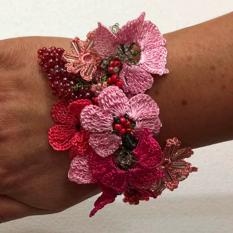 Hot Pink Bouquet Bracelet with Red Grapes - Crochet OYA Lace Bracelet