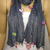 Crocheted Dark GREY scarf with handmade multi color oya flowers - Beaded Scarf - Crochet Beaded Scarf