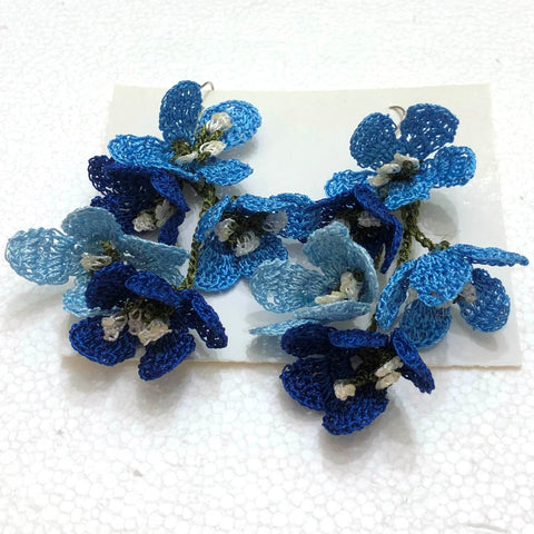 Light Blue and Royal Blue Poppy Earrings