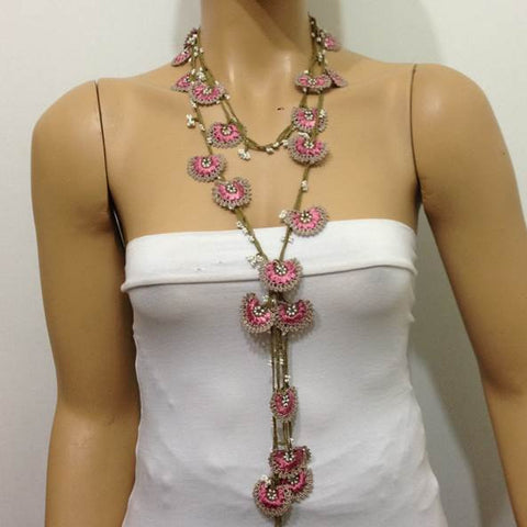 Pink and Beige Crochet Necklace - Beaded lariat - Crochet oya lace Necklace