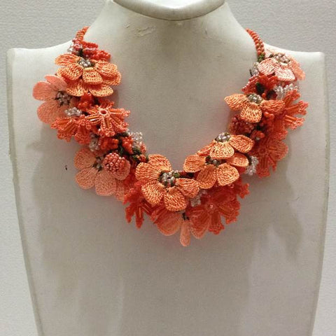 Orange and Salmon Bouquet Necklace - Crochet OYA Lace Necklace