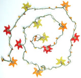 10.17.13 Yellow Orange Red Crochet beaded flower lariat necklace with Agate Stones