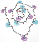 10.11.21 BLUE and Lilac Crochet beaded flower lariat necklace with Pink Stones