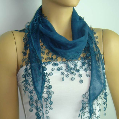 Petrol Blue Teal fringed edge scarf - Scarf with Lace Fringe