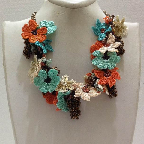 Orange, Blue and White Bouquet Necklace with Copper Grapes - Crochet OYA Lace Necklace