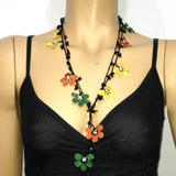 10.29.17 Yellow,Burnt Orange and Green Crochet beaded flower lariat necklace with Onyx Stones