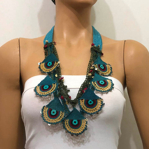Turkish Delight Necklace - Blue Belt Necklace - Evil Eye Necklace - Efe Oya