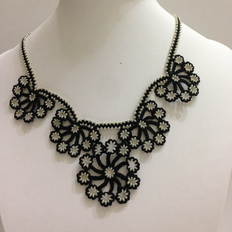 Black with Off White Beads - Choker Necklace with Crocheted Bead Flower Oya