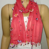 Crocheted Pomegranate Pink scarf with handmade multi color oya flowers - Peach Pink Scarf - Beaded Scarf - Crochet Beaded Scarf