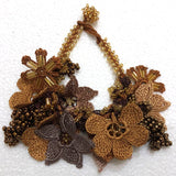 Golden Yellow and ,Brown Bouquet Bracelet with Copper Grapes- Crochet OYA Lace Bracelet
