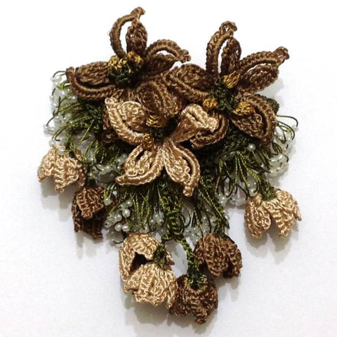Brown BROOCH 3D Hand Crochet Brooch - Flower Pin- Gift for Mom - Gift for Mother - Lace Brooches Jewelry - Fabric Flower Brooch