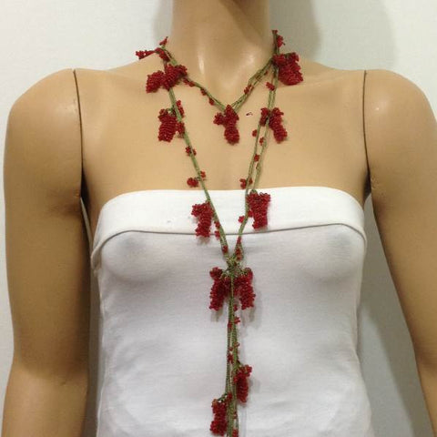 RED Crochet grapes bead oya - Berry Necklace - Beaded Lariat -  Necklace Lariat Necklace