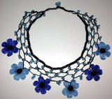 BLUE and NAVY Daisy Choker Necklace with Crocheted Flower and semi precious Turquoise Stones