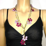 10.29.21 Lilac,Sour Cherry and Pink Crochet beaded flower lariat necklace with Pink Stones