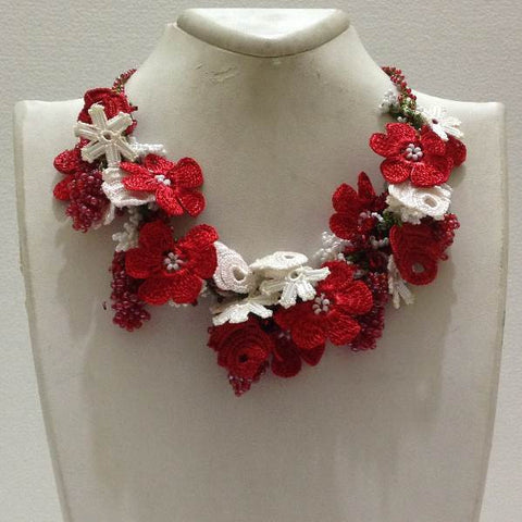 Red and White Bouquet Necklace with Pink Grapes - Crochet OYA Lace Necklace