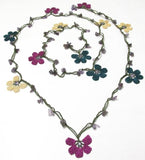 10.29.19 Plum, Teal and Yellow Crochet beaded flower lariat necklace with Amethyst Stones