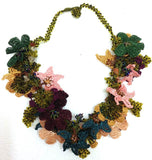 Green,purple,yellow and Salmon with Yellowish Green Grapes - Crochet OYA Lace Necklace