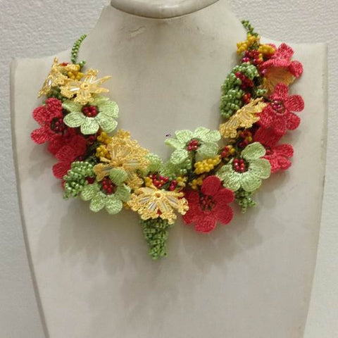 Pomagranate Pink, Green and Yellow Bouquet Necklace -  Crochet OYA Lace Necklace