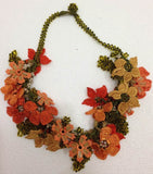 Orange and Yellow Bouquet Necklace -  Crochet OYA Lace Necklace