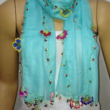 Crocheted Aqua GREEN scarf with handmade multi color oya flowers - Ice blue Scarf - Beaded Scarf - Crochet Beaded Scarf