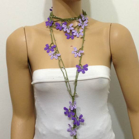 Lilac and Purple Crochet Necklace - Beaded lariat - Crochet oya lace Necklace