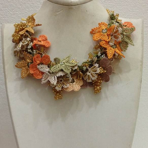 Soft colors, Salmon Green Beige Yellow  Bouquet Necklace -  Crochet OYA Lace Necklace