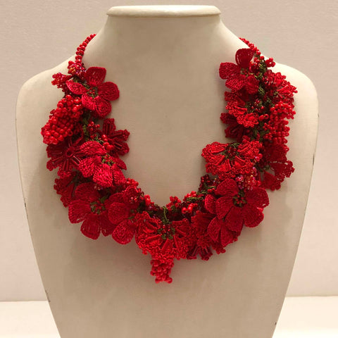 Pomegranate RED with Coral Grapes - Crochet OYA Lace Necklace