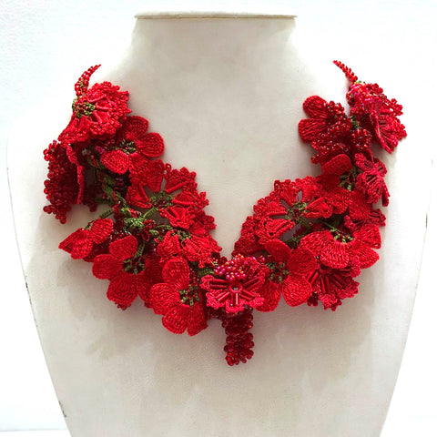 Pomegranate RED with Red Grapes - Crochet OYA Lace Necklace