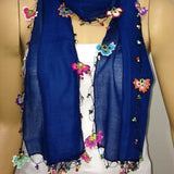 Crocheted INDIGO BLUE scarf with handmade multi color oya flowers - Cobalt blue Scarf - Beaded Scarf - Crochet Beaded Scarf
