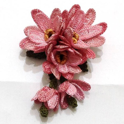 Pink brooch 3d hand crocheted flower pin unique turkish lace pink hand crocheted brooch flower pin unique turkish lace brooches jewelry fabric mightylinksfo