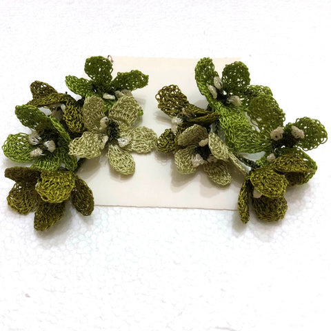 Green Poppy Earrings
