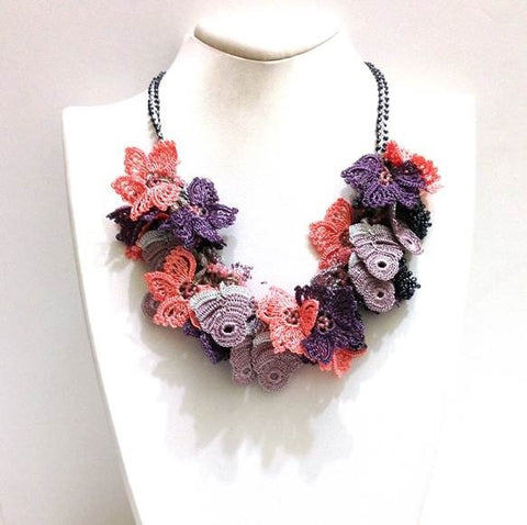 Salmon pink and Purple Bouquet Necklace - Crochet OYA Lace Necklace - Beaded Crochet Necklace - Mixed Flower - Hand crafted Necklace - Fiber Art