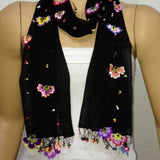 Crocheted BLACK scarf with handmade multi color oya flowers - Black Scarf - Beaded Scarf - Crochet Beaded Scarf