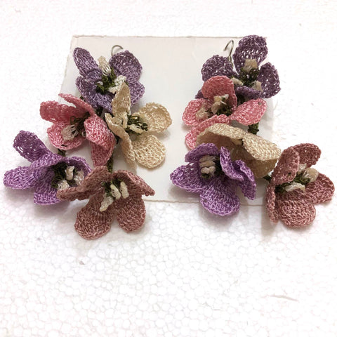 Pink and Purple Poppy Earrings